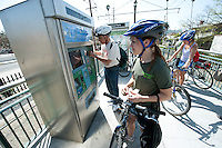 Robert Gottlieb, Professor of Urban & Environmental Policy, Director of the Urban & Environmental Policy Institute. Highland Park, Metro rail train and area. Occidental College hosts New York City Transportation Commissioner Janette Sadik-Khan '82 as she takes a bicycle tour of the neighborhood to a Metro station in Highland Park on Friday, March 19, 2010. President Jonathan Veitch, students, faculty and the public took part. (Photo by Marc Campos, Occidental College Photographer)