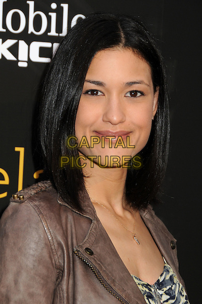 "JULIA JONES.""Skateland"" Los Angeles Premiere held at Arclight Cinemas, Hollywood, California USA, 12th May 2011..portrait headshot gold necklace  brown grey gray leather .CAP/ADM/BP.©Byron Purvis/AdMedia/Capital Pictures."