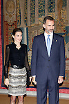 Queen Letizia of Spain and King Felipe VI of Spain attend to the oficial recepcion in honor of Chile's President Michelle Bachelet at El Pardo Palace in Madrid, Spain.October 30, {year 4}. (ALTER PHOTOS/Caro Marin)
