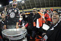 D.C. United defender Brandon McDonald (4) celebrating with fans during the game. D.C. United tied the Seattle Sounders, 0-0 at RFK Stadium, Saturday April 7, 2012.