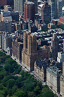 aerial photograph of Central Park West in Manhattan, New York City; in the center is the Majestic Apartments building between West 71st and West 72d Street; to its right th Dakota and the Lanham.