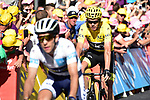 White Jersey Simon Yates (GBR) Orica-Scott and Yellow Jersey Chris Froome (GBR) Team Sky cross the finish line at the end of Stage 15 of the 104th edition of the Tour de France 2017, running 189.5km from Laissac-Severac l'Eglise to Le Puy-en-Velay, France. 16th July 2017.<br /> Picture: ASO/Pauline Ballet | Cyclefile<br /> <br /> <br /> All photos usage must carry mandatory copyright credit (&copy; Cyclefile | ASO/Pauline Ballet)
