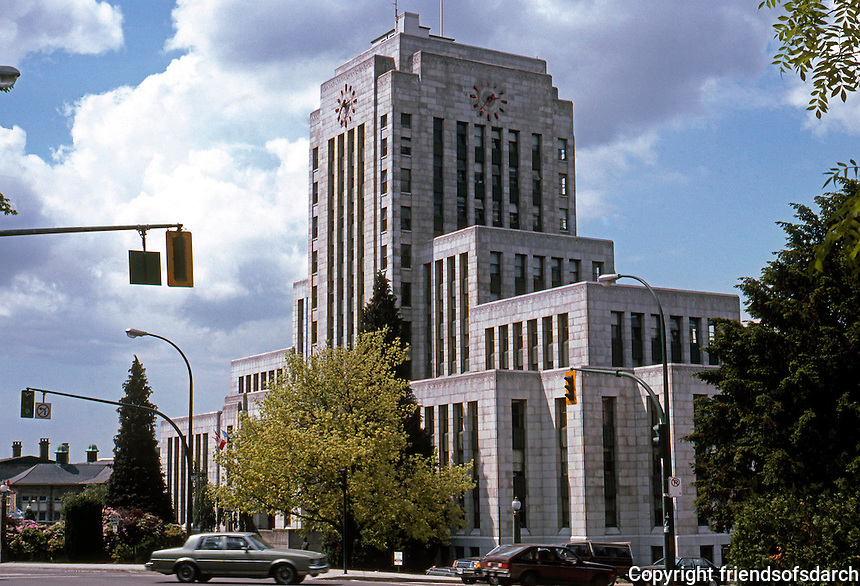 Vancouver: City Hall--3/4 view. 453 W. 12th Ave. Townley & Matheson, 1935-36.