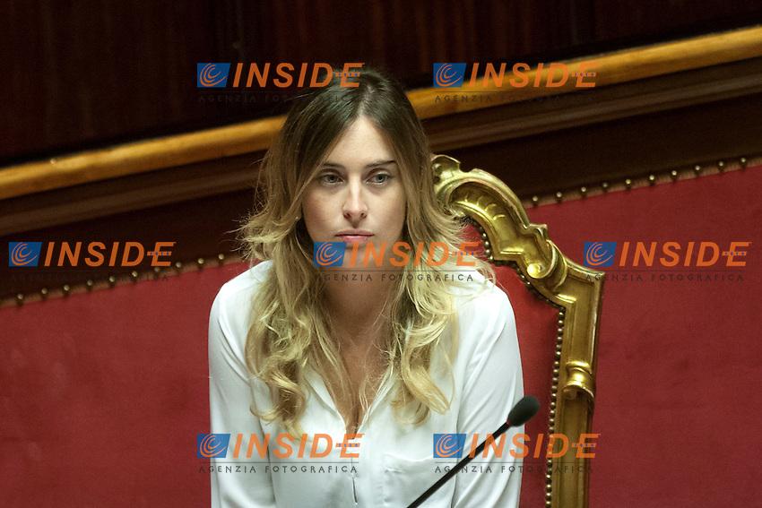 Maria Elena Boschi<br /> Roma 06-08-2014  Senato. Discussione sul DdL Riforme costituzionali che prevede anche la riforma del Senato. <br /> Photo Samantha Zucchi Insidefoto