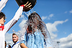 London, UK on Sunday 31st August, 2014. Jessica Steele undertaking the ALS Ice Bucket Challenge during the Soccer Six charity celebrity football tournament at Mile End Stadium, London.