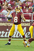 Washington Redskins quarterback Kirk Cousins (8) looks for a receiver during first quarter action in the pre-season game against the Buffalo Bills at FedEx Field in Landover, Maryland on Friday, August 26, 2016.  The Redskins won the game 21 - 16.<br /> Credit: Ron Sachs / CNP