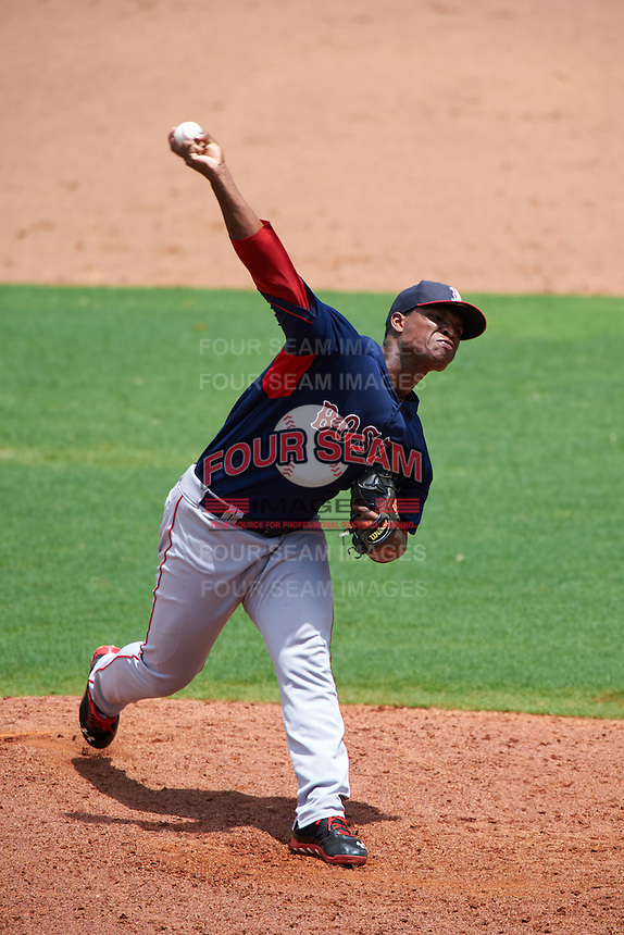 GCL Red Sox pitcher Yankory Pimentel (64) delivers a pitch during the second game of a doubleheader against the GCL Rays on August 4, 2015 at Charlotte Sports Park in Port Charlotte, Florida.  GCL Red Sox defeated the GCL Rays 2-1.  (Mike Janes/Four Seam Images)