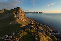 View towards Møntind from summit of Hornet, Flakstadøy, Lofoten Islands, Norway