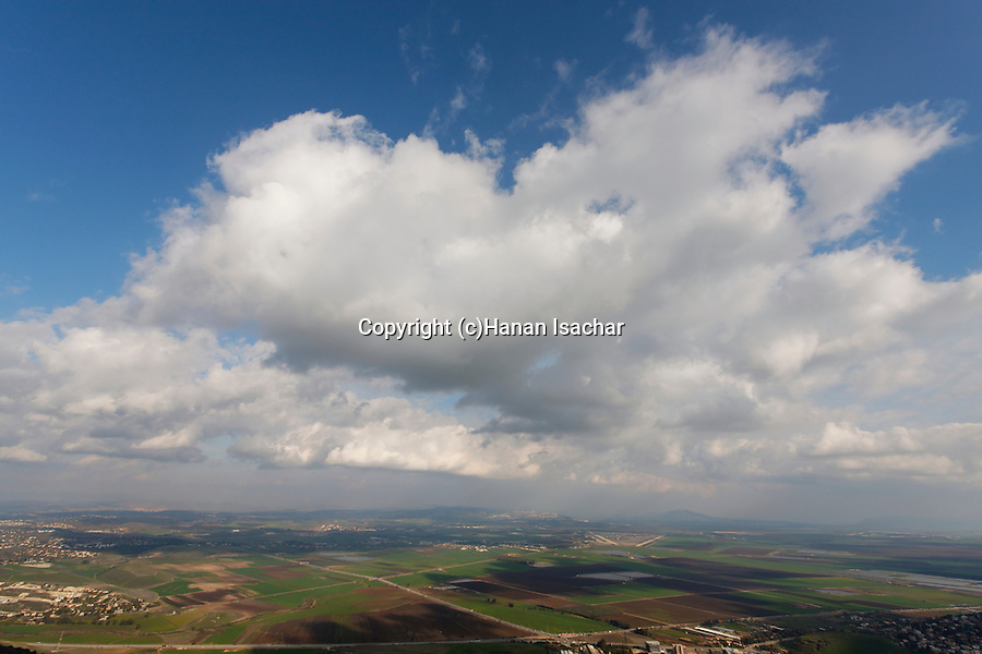 Israel, Mount Carmel. Israel, Mount Carmel. View of Jezreel valley from the Carmelite Sanctuary and Convent at the Muhraka