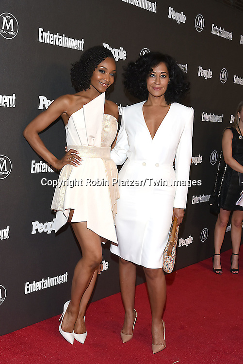 Yaya  DeCosta and Tracee Ellis Ross attends the Entertainment Weekly &amp; PEOPLE Magazine New York Upfronts Celebration on May 16, 2016 at Cedar Lake in New York, New York, USA.<br /> <br /> photo by Robin Platzer/Twin Images<br />  <br /> phone number 212-935-0770