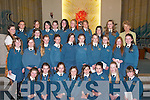 Balloonagh National School pupils who were confirmed by Bishop Bill Murphy on Friday morning in St Brendan's Church, Tralee. Front row l-r: Kayla OBrien, Shona Heaslip, Kristin McKenzie Vass, Ciara Dolan, Rachel McBride, Maire OConnor, Emily ORegan and Laura Dunworth. Middle row l-r: Karen McGovern, Katie ORiordan, Maura Slattery, Shannon Carey, Samantha Locke, Barbara Higgins, Rachel Browne, Laura Lynch, Amy Cahill, Shauna Coffey and Siun Mangan. Back row l-r: Ms Cliona Fitzmaurice (Teacher), Stacey Conway, Sarah Hayes, Claire Goodall, Carolann McMahon, Rebecca Shortt, Priscilla Purcell, Sinead Flanagan, Sinead Hurley, Laura Byrne and Mrs Maria McSwiney (Principal)..