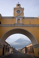 Looking through the Santa Catalina Arch in Antigua towards the Agua Volcano.