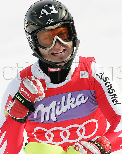 Winner Reinfried Herbst of Austria reacts in finish of second run of Men slalom race of Audi FIS alpine skiing World Cup in Kranjska Gora, Slovenia. Slalom race of Men Audi FIS Alpine skiing World Cup 2009-10, was held on Sunday in Kranjska Gora, Slovenia, on 31st of January 2010..Photo: Primoz/Actionplus. Editorial LIcenses Only.
