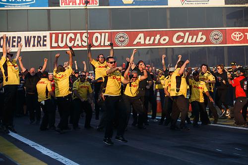 J.R. Todd, DHL, Toyota, Camry, Funny Car, winner, trophy, celebration, champion, championship