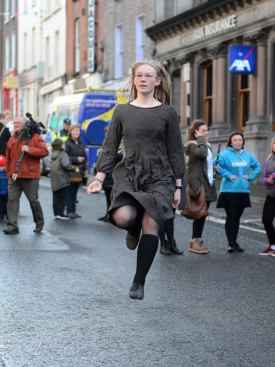 Anna pap dancing on Laurence street for the visit of Fleadh Ceol Ard Comhairle to assess Drogheda in its bid to host the Fleadh Ceol 2015. Photo:Colin Bell/pressphotos.ie
