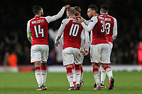 Jack Wilshere of Arsenal (10) celebrates after he scores his team's third goal of the game to make the score 3-0 during the UEFA Europa League match between Arsenal and FC BATE Borisov  at the Emirates Stadium, London, England on 7 December 2017. Photo by David Horn.