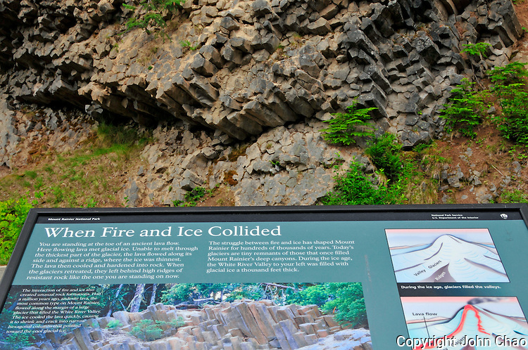 Interpretive display describing volcanic processes that produce geology with example behind the sign. Milepost 8 on Sunrise Road, Mount Rainier National Park, Washington State.