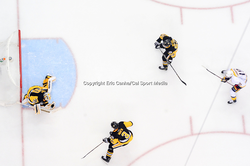 May 31, 2017: Pittsburgh Penguins goalie Matt Murray (30) gloves the puck during game two of the National Hockey League Stanley Cup Finals between the Nashville Predators  and the Pittsburgh Penguins, held at PPG Paints Arena, in Pittsburgh, PA. The Penguins defeat the Predators 4-1 and lead the series 2-0. Eric Canha/CSM