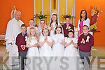Students from Mountcollins NS who received their First Holy Communion last Saturday in The Church of the Immaculate Conception, Mountcollins. F L-r: Nicholas Lis Murphy, Ciara Audsley, Mackenzie Murphy, Katelyn Kennedy, Shauna O'Connor, Noel Dillane. B l-r: Fr. Willie O'Gorman, Molly Murphy, Hayley Collins Short, Muirne Lane, Ethan O'Reilly and Mairead Lane(teacher).