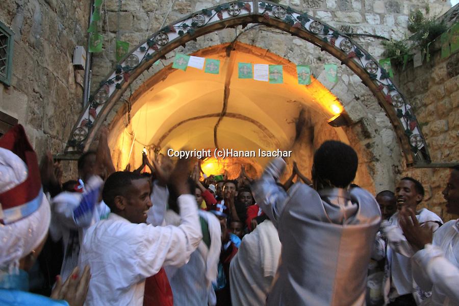 Israel, Jerusalem, Easter, the Ethiopian Orthodox procession on Holy Saturday