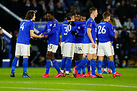 4th March 2020; King Power Stadium, Leicester, Midlands, England; English FA Cup Football, Leicester City versus Birmingham City; Leicester City players encourage each other before kick-off