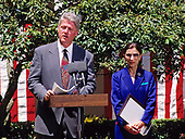 United States President Bill Clinton, left, makes remarks as he names Judge Ruth Bader Ginsburg of the United States Court of Appeals for the District of Columbia, right, to be Associate Justice of the Supreme Court in the Rose Garden of the White House in Washington, DC on June 14, 1993.  If confirmed, Judge Ginsburg will replace Associate Justice Byron R. White.<br /> Credit: Ron Sachs / CNP