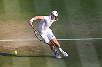 Kevin Anderson (RSA) during his victory against Gael Monfils (FRA) in their Men's Singles Fourth Round match<br /> <br /> Photographer Rob Newell/CameraSport<br /> <br /> Wimbledon Lawn Tennis Championships - Day 6 - Saturday 7th July 2018 -  All England Lawn Tennis and Croquet Club - Wimbledon - London - England<br /> <br /> World Copyright &Acirc;&copy; 2017 CameraSport. All rights reserved. 43 Linden Ave. Countesthorpe. Leicester. England. LE8 5PG - Tel: +44 (0) 116 277 4147 - admin@camerasport.com - www.camerasport.com