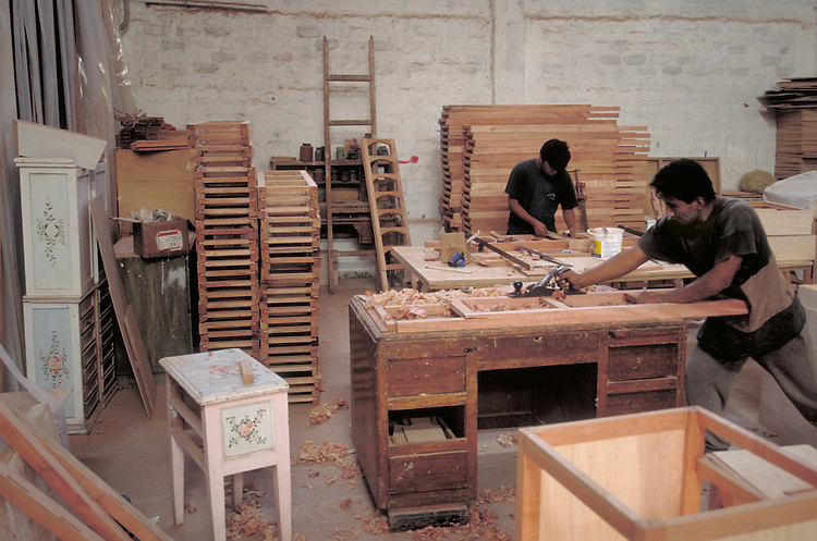 Workers in a furniture factory in Lima, Peru