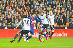 Lionel Andres Messi of FC Barcelona competes for the ball with Daniel Parejo Munoz of Valencia CF during the La Liga 2017-18 match between Valencia CF and FC Barcelona at Estadio de Mestalla on November 26 2017 in Valencia, Spain. Photo by Maria Jose Segovia Carmona / Power Sport Images