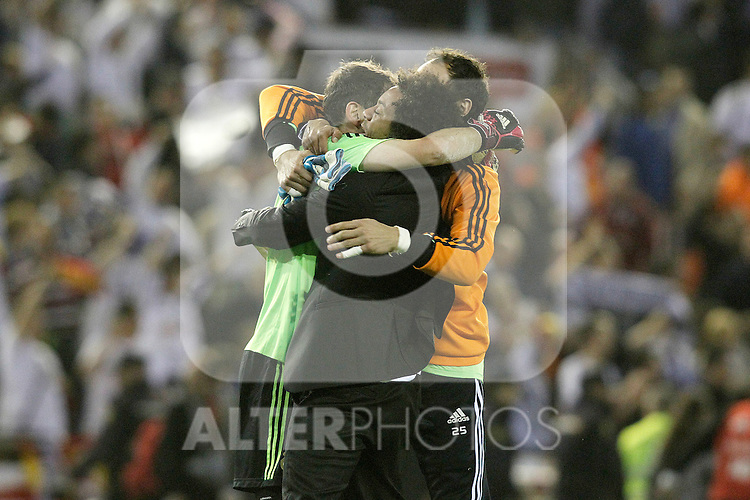Real Madrid's Iker Casillas, Marcelo Vieira and Diego Lopez celebrate the victory in the spanish KIng's Cup Final match.April 16,2014. (ALTERPHOTOS/Acero)