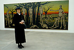 Bernard Buffet French artist expressionist painter (1928-1999) France Circa 1995. German woman at opening of his one man exhibition  Kassal Germany 1994.
