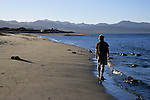A man walks along the shorline of Bahia de los Angeles along the Sea of Cortez (Gulf of California), Baja California, Mexico