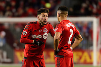 Toronto, ON, Canada - Saturday Dec. 10, 2016: Jonathan Osorio, Justin Morrow during the MLS Cup finals at BMO Field. The Seattle Sounders FC defeated Toronto FC on penalty kicks after playing a scoreless game.