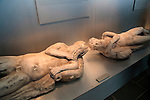 Reclining Sileni figure sculptures in museum, Baelo Claudia Roman site, Cadiz Province, Spain