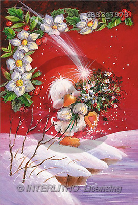 Ron, CHRISTMAS ANIMALS, paintings, duck, Christmas flowers(GBSG7978,#XA#) Weihnachten, Navidad, illustrations, pinturas