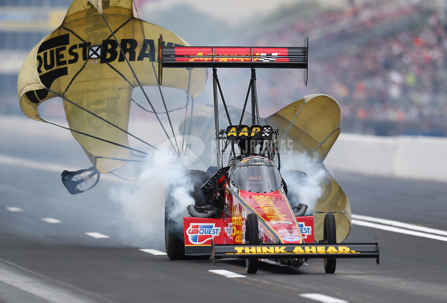 Apr 13, 2019; Baytown, TX, USA; NHRA top fuel driver Brittany Force during qualifying for the Springnationals at Houston Raceway Park. Mandatory Credit: Mark J. Rebilas-USA TODAY Sports