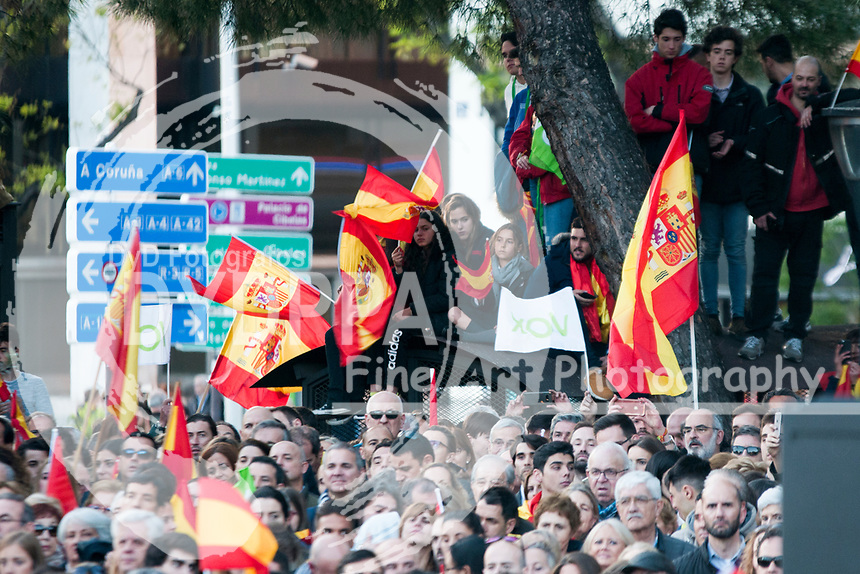 The closing of the campaign of the VOX party, on Sunday the 28th are the general elections, at Plaza de Colon in Madrid on April 26, 2019.