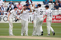 Will Rhodes of Warwickshire celebrates with his team mates after taking the wicket of Alastair Cook during Essex CCC vs Warwickshire CCC, Specsavers County Championship Division 1 Cricket at The Cloudfm County Ground on 15th July 2019