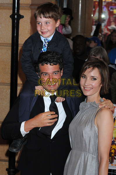 """Ben Gregor & his family.The """"All Stars"""" UK film premiere, Vue West End cinema, Leicester Square, London, England..April 22nd, 2013.half length black white suit grey gray dress kid child carrying on shoulders.CAP/PP/BK.©Bob Kent/PP/Capital Pictures..."""