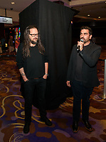 LAS VEGAS, NV - October 10, 2018: ***HOUSE COVERAGE*** Jonathan Davis and Hard Rock Hotel  Curator Beau Dobney pictured as Jonathan Davis of KORN is honored with a memorabilia display at Hard Rock Hotel & Casino in Las Vegas, NV on October 10, 2018. Credit: GDP Photos/ MediaPunch