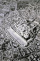 Model of Ancient Rome depicting the Circus Maximus chariot racing stadium and Roman Forum.
