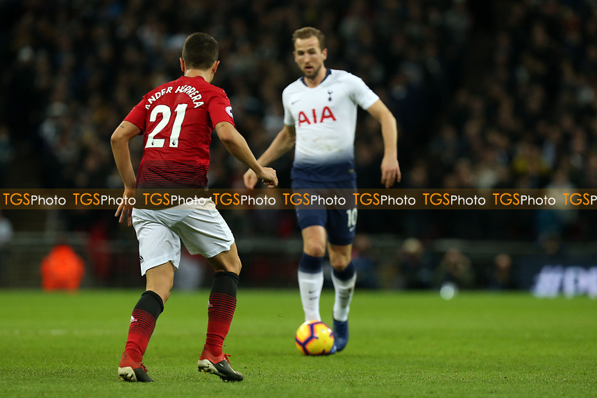 Harry Kane of Tottenham Hotspur and Ander Herrera of Manchester United during Tottenham Hotspur vs Manchester United, Premier League Football at Wembley Stadium on 13th January 2019