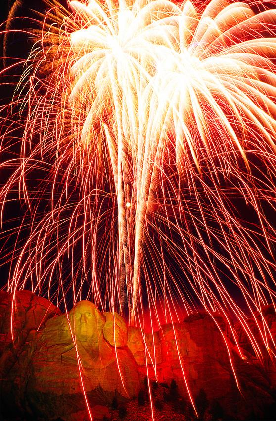 Fourth of July Fireworks display, Mount Rushmore National Memorial, South Dakota USA
