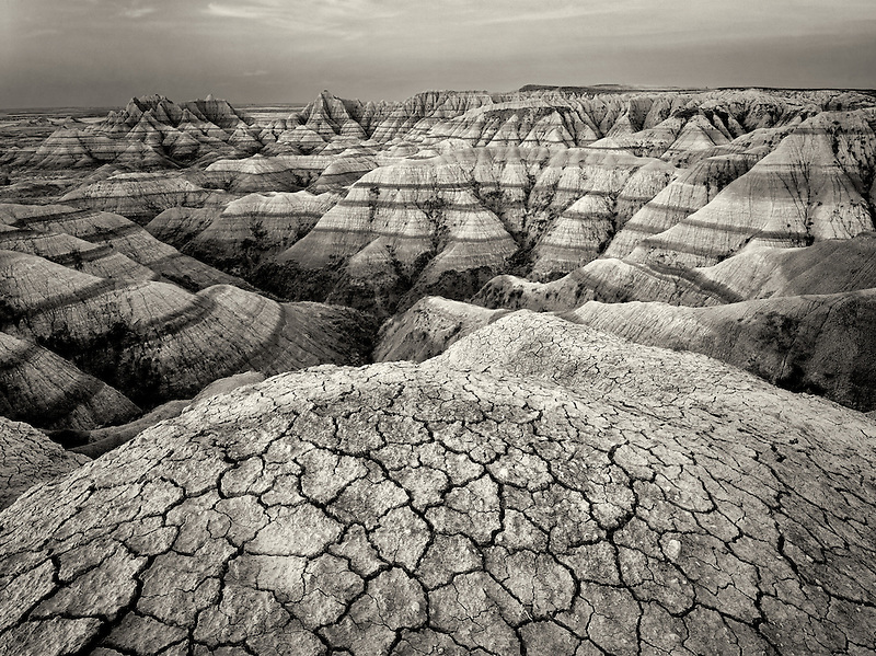 Eroded and cracked rock and mud formations. Badlands National Park. South Dakota formations.
