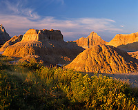 Badlands National Park, SD  <br /> Morning light on varied Badland terrain near Norbeck Pass