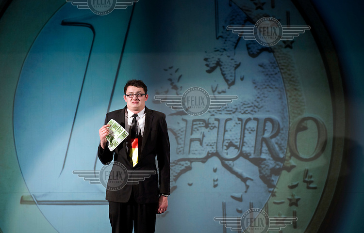 An actor in the British musical EuroCrash! Playing at the Prime Time Theatre in Berlin. The musical, written by economics correspondent David Shirreff and cartoonist Russell Sarre, is a semi-serious story about the Euro crises, wrapped-up in a fairy tale...