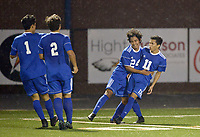 NWA Democrat-Gazette/BEN GOFF @NWABENGOFF<br /> Willie Hernandez (1), Alexis Valdez (2) and Johan Rodriguez (24) congratulate their Rogers teammate Jessie Ramirez (11) after he scored a goal Friday, March 17, 2017, during the game against Rogers Heritage in Gates Stadium at Rogers Heritage.