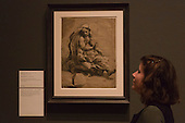 "Pictured: Archimedes (?) c. 1518-20 by Ugo da Carpi (c. 1501-1532) after Raphael. Press preview of the exhibition ""Renaissance Impressions: Chiaroscuro Woodcuts from the Collections of Georg Baselitz and the Albertina, Vienna"", opens at the Royal Academy of Art on 15 March 2014. The exhibition at the Sackler Wing of Galleries runs from 15 March to 8 June 2014 and presents over 150 rare prints by the chief practitioners of the Chiaroscuro woodcutting technique in Germany, Italy and the Netherlands held at the Albertina Museum in Vienna and in the personal collection of the Honorary Royal Academian Georg Baselitz."