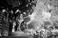 Alberto Contador (ESP/Tinkoff-Saxo) still celebrating after stage 19<br /> <br /> Giro d'Italia 2015<br /> stage 19: Gravellona Toce - Cervinia (236km)