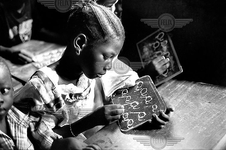 Handwriting class in a primary school.